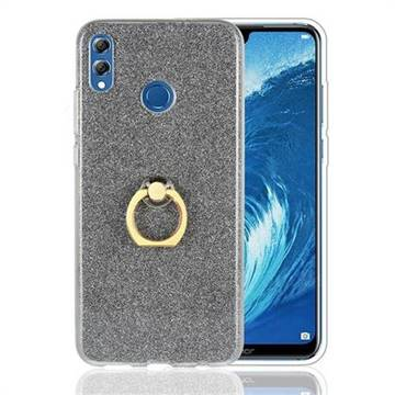 Luxury Soft TPU Glitter Back Ring Cover with 360 Rotate Finger Holder Buckle for Huawei Honor 8X - Black