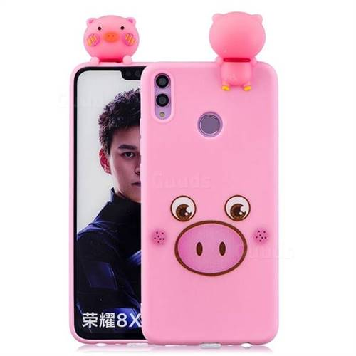 Small Pink Pig Soft 3D Climbing Doll Soft Case for Huawei Honor 8X