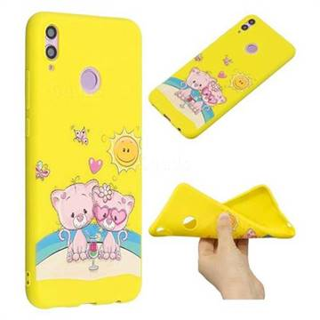 Pink Bear Couple Anti-fall Frosted Relief Soft TPU Back Cover for Huawei  Honor 8X