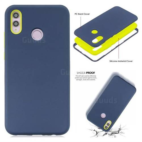 Matte PC + Silicone Shockproof Phone Back Cover Case for Huawei Honor 8X -  Dark Blue