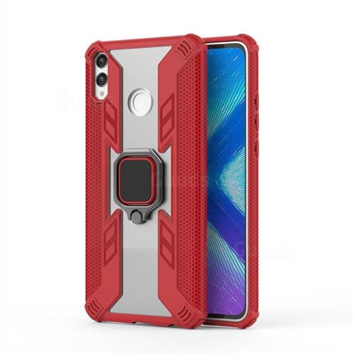 Predator Armor Metal Ring Grip Shockproof Dual Layer Rugged Hard Cover for Huawei Honor 8X - Red