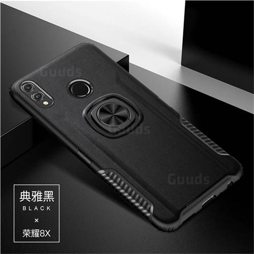 Knight Armor Anti Drop PC + Silicone Invisible Ring Holder Phone Cover for Huawei Honor 8X - Black