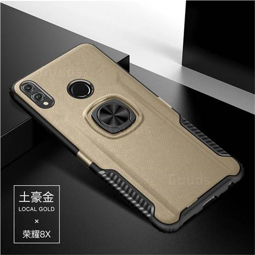 Knight Armor Anti Drop PC + Silicone Invisible Ring Holder Phone Cover for Huawei Honor 8X - Champagne