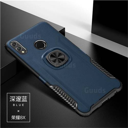 Knight Armor Anti Drop PC + Silicone Invisible Ring Holder Phone Cover for Huawei Honor 8X - Sapphire