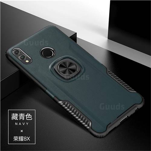 Knight Armor Anti Drop PC + Silicone Invisible Ring Holder Phone Cover for Huawei Honor 8X - Navy