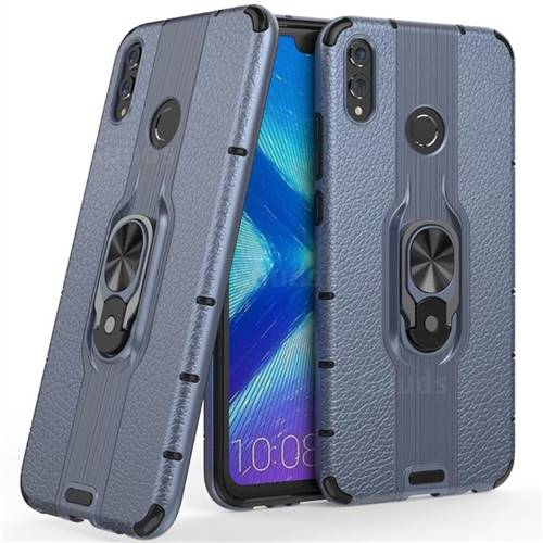 Alita Battle Angel Armor Metal Ring Grip Shockproof Dual Layer Rugged Hard Cover for Huawei Honor 8X - Blue