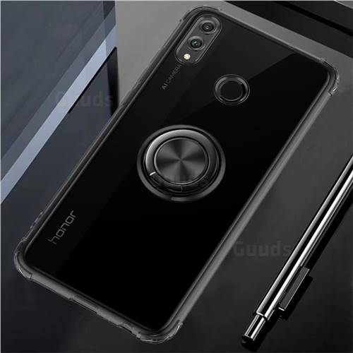 Anti-fall Invisible Press Bounce Ring Holder Phone Cover for Huawei Honor 8X - Elegant Black