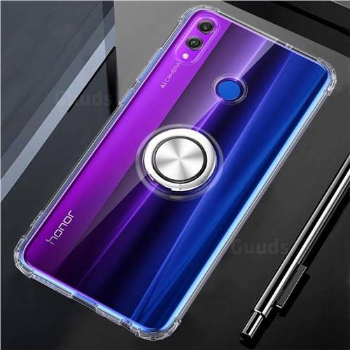 Anti-fall Invisible Press Bounce Ring Holder Phone Cover for Huawei Honor 8X - Transparent