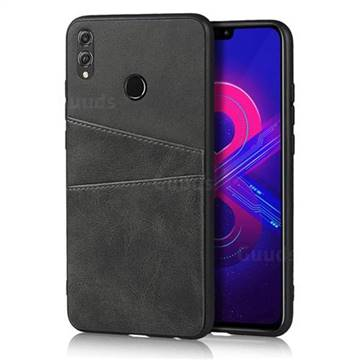 Simple Calf Card Slots Mobile Phone Back Cover for Huawei Honor 8X - Black