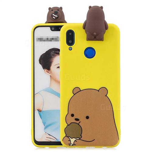 Brown Bear Soft 3D Climbing Doll Stand Soft Case for Huawei Honor 8X