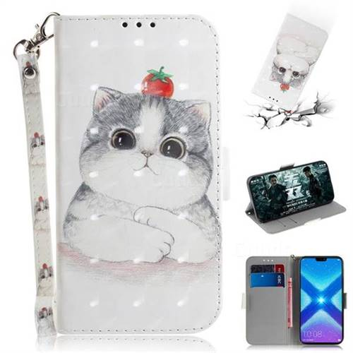 Cute Tomato Cat 3D Painted Leather Wallet Phone Case for Huawei Honor 8X