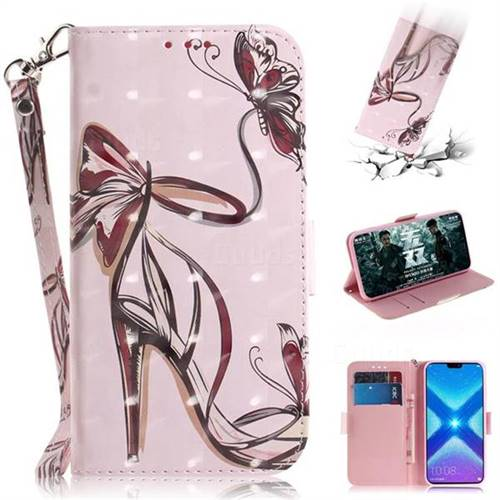 Butterfly High Heels 3D Painted Leather Wallet Phone Case for Huawei Honor 8X