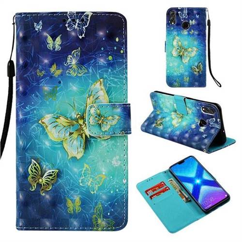 Gold Butterfly 3D Painted Leather Wallet Case for Huawei Honor 8X
