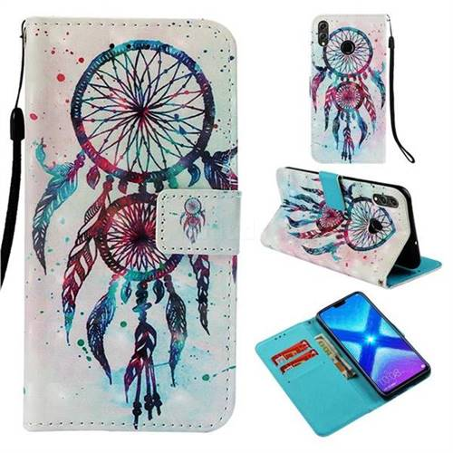 ColorDrops Wind Chimes 3D Painted Leather Wallet Case for Huawei Honor 8X