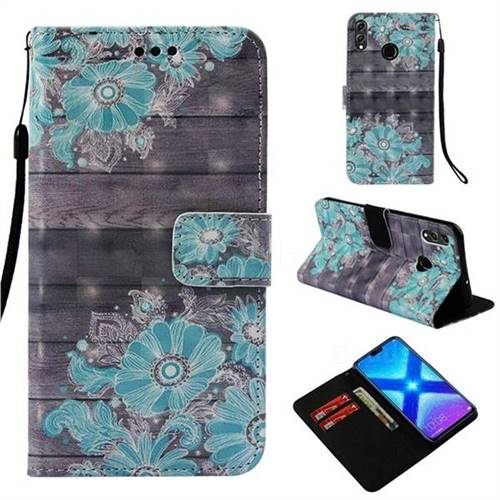 Blue Flower 3D Painted Leather Wallet Case for Huawei Honor 8X