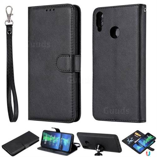 Retro Greek Detachable Magnetic PU Leather Wallet Phone Case for Huawei Honor 8X - Black