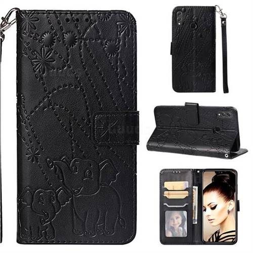 Embossing Fireworks Elephant Leather Wallet Case for Huawei Honor 8X - Black