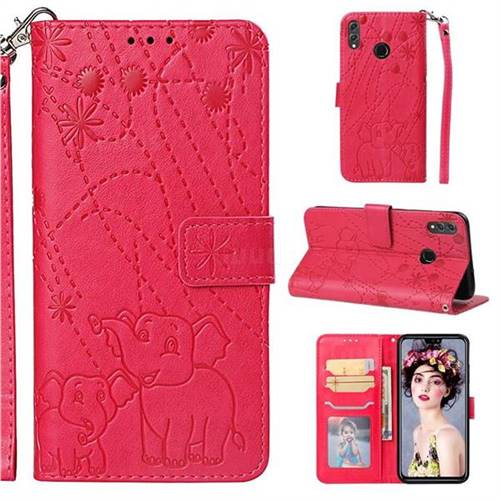 Embossing Fireworks Elephant Leather Wallet Case for Huawei Honor 8X - Red
