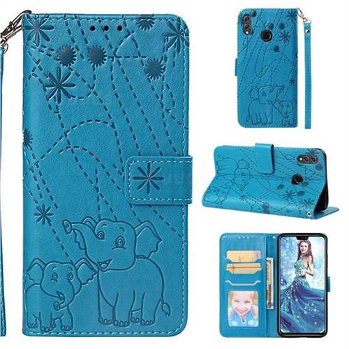 Embossing Fireworks Elephant Leather Wallet Case for Huawei Honor 8X - Blue