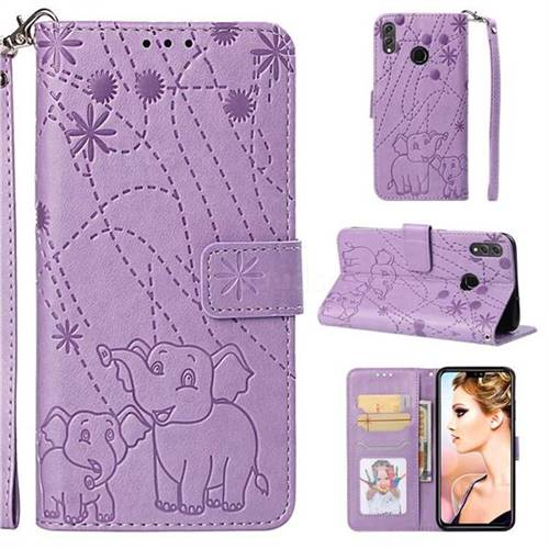 Embossing Fireworks Elephant Leather Wallet Case for Huawei Honor 8X - Purple