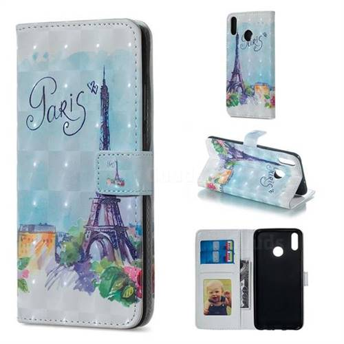 Paris Tower 3D Painted Leather Phone Wallet Case for Huawei Honor 8X