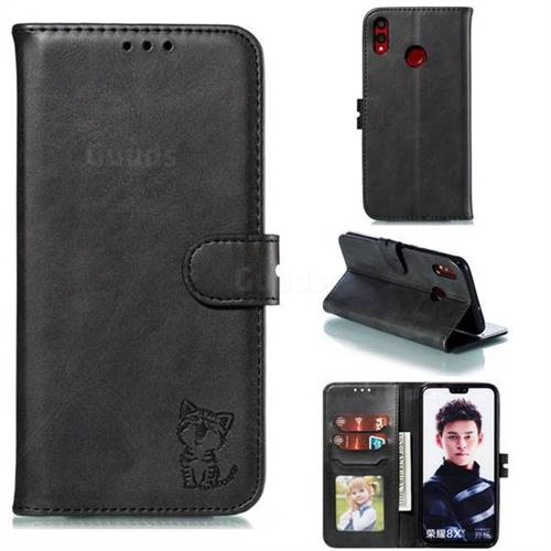 Embossing Happy Cat Leather Wallet Case for Huawei Honor 8X - Black