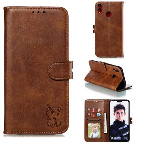 Embossing Happy Cat Leather Wallet Case for Huawei Honor 8X - Brown
