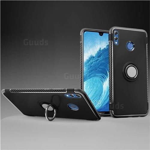 Armor Anti Drop Carbon PC + Silicon Invisible Ring Holder Phone Case for Huawei Honor 8X Max(Enjoy Max) - Black