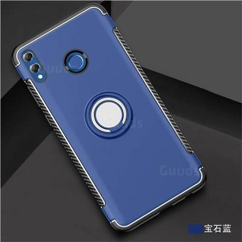 Armor Anti Drop Carbon PC + Silicon Invisible Ring Holder Phone Case for  Huawei Honor 8X Max(Enjoy Max) - Sapphire