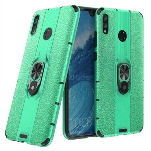 Alita Battle Angel Armor Metal Ring Grip Shockproof Dual Layer Rugged Hard Cover for Huawei Honor 8X Max(Enjoy Max) - Green