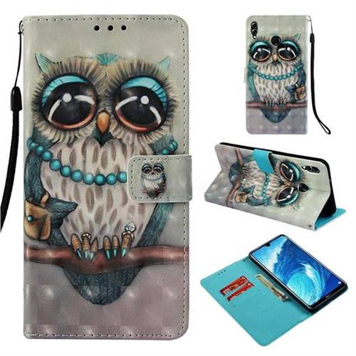 Sweet Gray Owl 3D Painted Leather Wallet Case for Huawei Honor 8X Max(Enjoy Max)