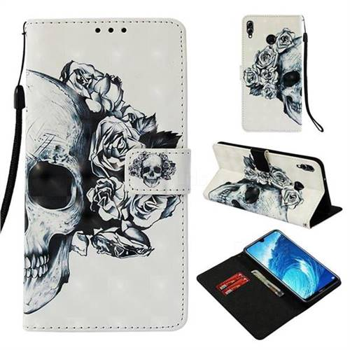 Skull Flower 3D Painted Leather Wallet Case for Huawei Honor 8X Max(Enjoy Max)