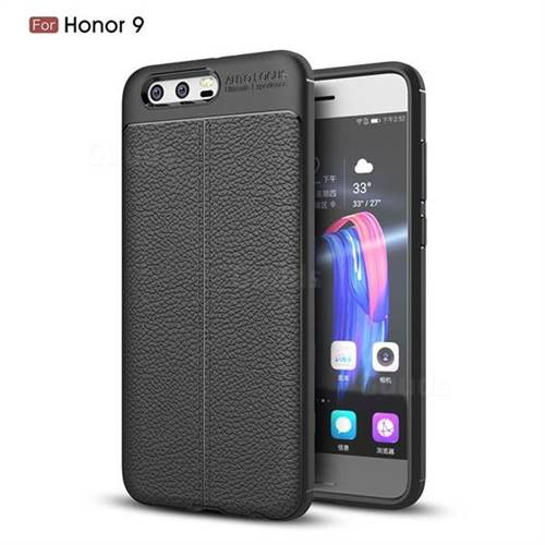 Luxury Auto Focus Litchi Texture Silicone TPU Back Cover for Huawei Honor 9 - Black