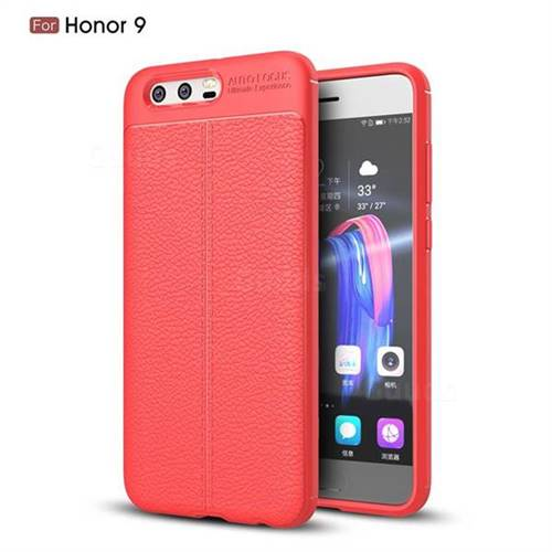 Luxury Auto Focus Litchi Texture Silicone TPU Back Cover for Huawei Honor 9 - Red