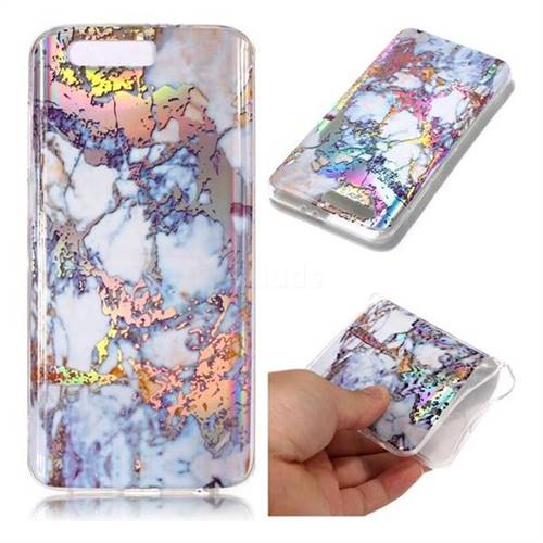 Gold Plating Marble Pattern Bright Color Laser Soft TPU Case for Huawei Honor 9