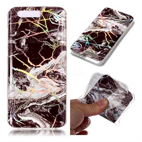 White Black Marble Pattern Bright Color Laser Soft TPU Case for Huawei Honor 9