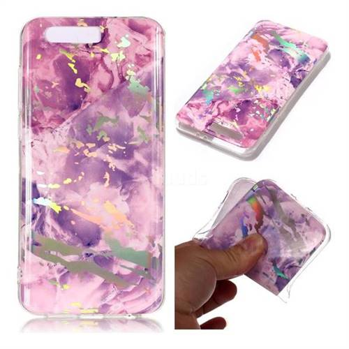 Purple Marble Pattern Bright Color Laser Soft TPU Case for Huawei Honor 9