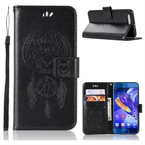 Intricate Embossing Owl Campanula Leather Wallet Case for Huawei Honor 9 - Black