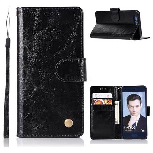 Luxury Retro Leather Wallet Case for Huawei Honor 9 - Black