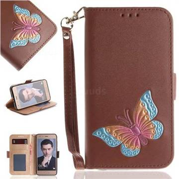 Imprint Embossing Butterfly Leather Wallet Case for Huawei Honor 9 - Brown