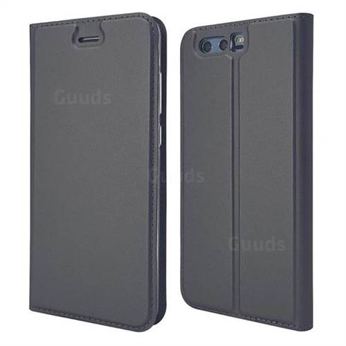 Ultra Slim Card Magnetic Automatic Suction Leather Wallet Case for Huawei Honor 9 - Star Grey