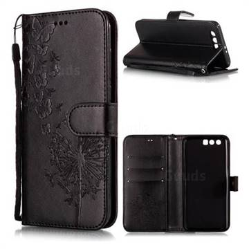 Intricate Embossing Dandelion Butterfly Leather Wallet Case for Huawei Honor 9 - Black