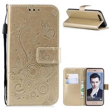 Intricate Embossing Butterfly Circle Leather Wallet Case for Huawei Honor 9 - Champagne