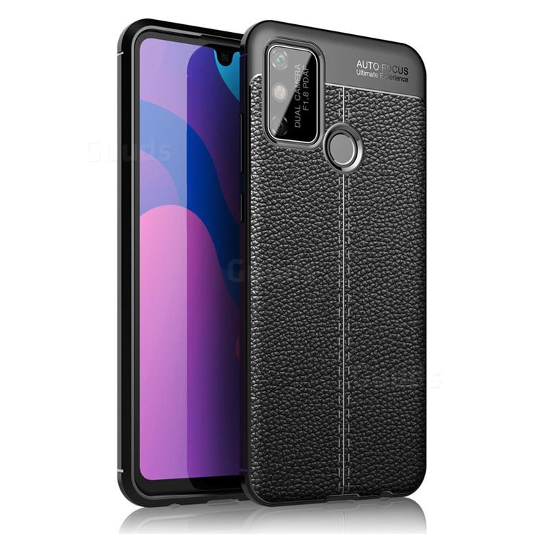 Luxury Auto Focus Litchi Texture Silicone TPU Back Cover for Huawei Honor 9A - Black