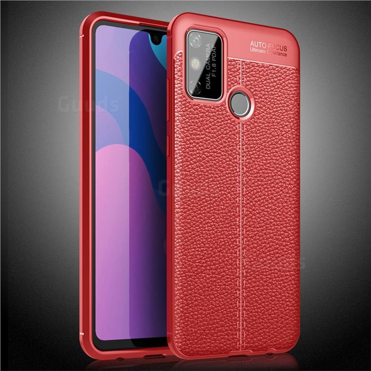 Luxury Auto Focus Litchi Texture Silicone TPU Back Cover for Huawei Honor 9A - Red