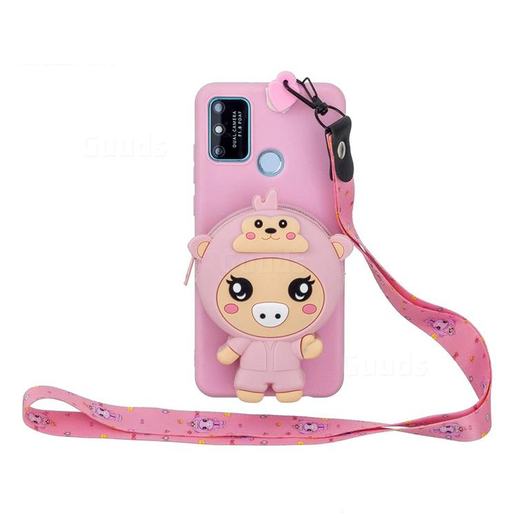 Pink Pig Neck Lanyard Zipper Wallet Silicone Case for Huawei Honor 9A