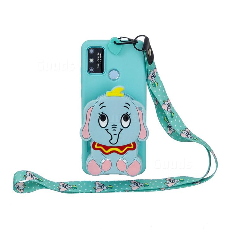 Blue Elephant Neck Lanyard Zipper Wallet Silicone Case for Huawei Honor 9A