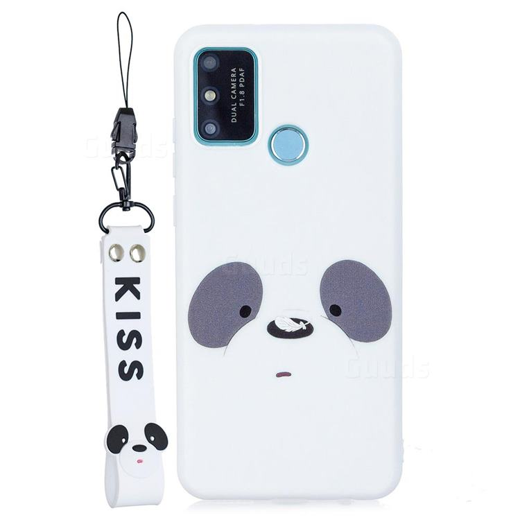 White Feather Panda Soft Kiss Candy Hand Strap Silicone Case for Huawei Honor 9A