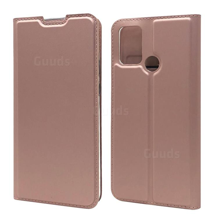 Ultra Slim Card Magnetic Automatic Suction Leather Wallet Case for Huawei Honor 9A - Rose Gold