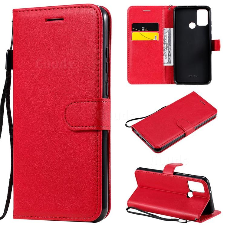 Retro Greek Classic Smooth PU Leather Wallet Phone Case for Huawei Honor 9A - Red